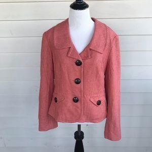 Talbots Sz 10 Melon Blazer Jacket w Seam Accents